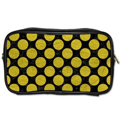 Circles2 Black Marble & Yellow Leather (r) Toiletries Bags 2 Side