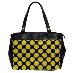 Circles2 Black Marble & Yellow Leather (r) Office Handbags (2 Sides)