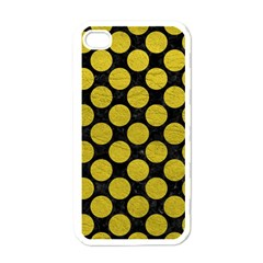 Circles2 Black Marble & Yellow Leather (r) Apple Iphone 4 Case (white)