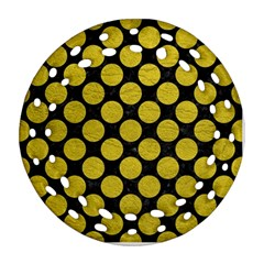 Circles2 Black Marble & Yellow Leather (r) Ornament (round Filigree)