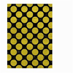 Circles2 Black Marble & Yellow Leather (r) Large Garden Flag (two Sides)