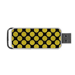 Circles2 Black Marble & Yellow Leather (r) Portable Usb Flash (one Side)