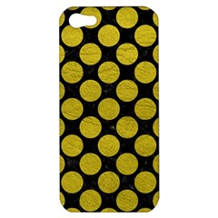 Circles2 Black Marble & Yellow Leather (r) Apple Iphone 5 Hardshell Case