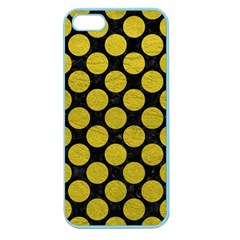 Circles2 Black Marble & Yellow Leather (r) Apple Seamless Iphone 5 Case (color)