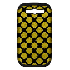 Circles2 Black Marble & Yellow Leather (r) Samsung Galaxy S Iii Hardshell Case (pc+silicone)