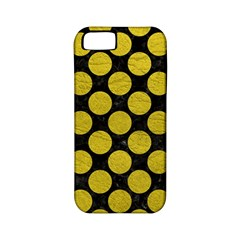 Circles2 Black Marble & Yellow Leather (r) Apple Iphone 5 Classic Hardshell Case (pc+silicone)