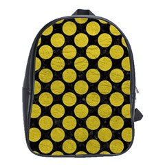 Circles2 Black Marble & Yellow Leather (r) School Bag (xl)