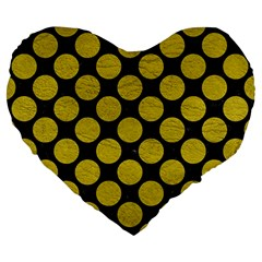 Circles2 Black Marble & Yellow Leather (r) Large 19  Premium Heart Shape Cushions