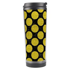 Circles2 Black Marble & Yellow Leather (r) Travel Tumbler