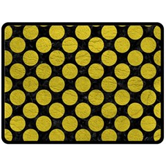 Circles2 Black Marble & Yellow Leather (r) Double Sided Fleece Blanket (large)