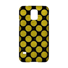Circles2 Black Marble & Yellow Leather (r) Samsung Galaxy S5 Hardshell Case