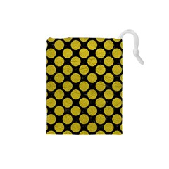 Circles2 Black Marble & Yellow Leather (r) Drawstring Pouches (small)