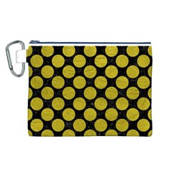 Circles2 Black Marble & Yellow Leather (r) Canvas Cosmetic Bag (l)
