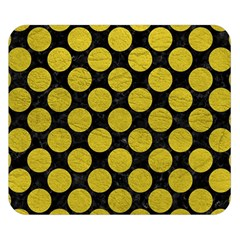 Circles2 Black Marble & Yellow Leather (r) Double Sided Flano Blanket (small)