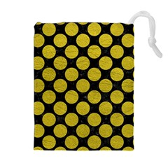 Circles2 Black Marble & Yellow Leather (r) Drawstring Pouches (extra Large)