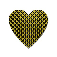 Circles3 Black Marble & Yellow Leather Heart Magnet