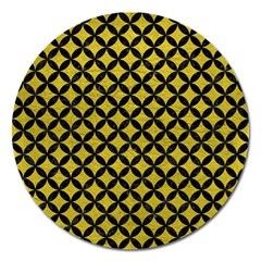 Circles3 Black Marble & Yellow Leather Magnet 5  (round)