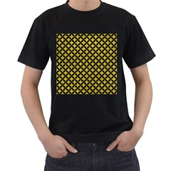 Circles3 Black Marble & Yellow Leather Men s T Shirt (black) (two Sided)