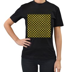 Circles3 Black Marble & Yellow Leather Women s T Shirt (black) (two Sided)