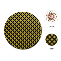 Circles3 Black Marble & Yellow Leather Playing Cards (round)