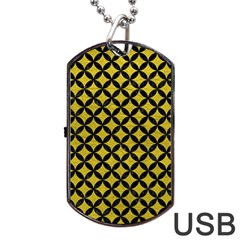 Circles3 Black Marble & Yellow Leather Dog Tag Usb Flash (two Sides)