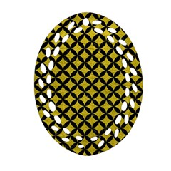 Circles3 Black Marble & Yellow Leather Oval Filigree Ornament (two Sides)