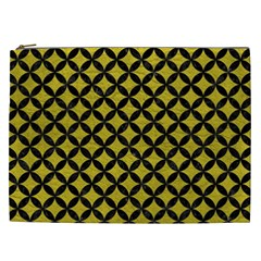 Circles3 Black Marble & Yellow Leather Cosmetic Bag (xxl)