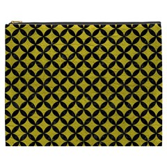 Circles3 Black Marble & Yellow Leather Cosmetic Bag (xxxl)