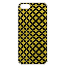 Circles3 Black Marble & Yellow Leather Apple Iphone 5 Seamless Case (white)