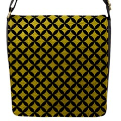 Circles3 Black Marble & Yellow Leather Flap Messenger Bag (s)
