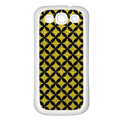 Circles3 Black Marble & Yellow Leather Samsung Galaxy S3 Back Case (white)