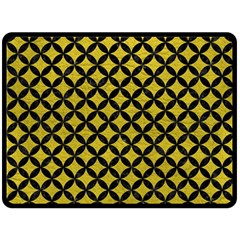 Circles3 Black Marble & Yellow Leather Double Sided Fleece Blanket (large)