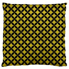 Circles3 Black Marble & Yellow Leather Large Flano Cushion Case (one Side)