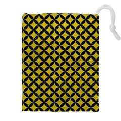 Circles3 Black Marble & Yellow Leather Drawstring Pouches (xxl)
