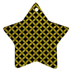 Circles3 Black Marble & Yellow Leather (r) Ornament (star)
