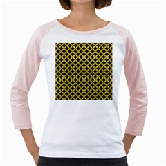 Circles3 Black Marble & Yellow Leather (r) Girly Raglans