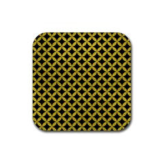 Circles3 Black Marble & Yellow Leather (r) Rubber Square Coaster (4 Pack)