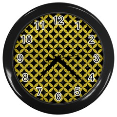 Circles3 Black Marble & Yellow Leather (r) Wall Clocks (black)