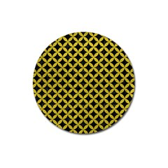 Circles3 Black Marble & Yellow Leather (r) Magnet 3  (round)