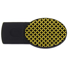 Circles3 Black Marble & Yellow Leather (r) Usb Flash Drive Oval (2 Gb)