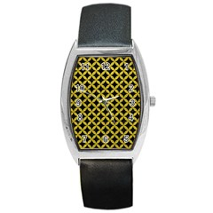 Circles3 Black Marble & Yellow Leather (r) Barrel Style Metal Watch