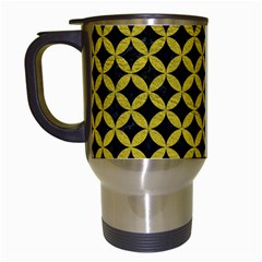 Circles3 Black Marble & Yellow Leather (r) Travel Mugs (white)