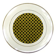 Circles3 Black Marble & Yellow Leather (r) Porcelain Plates