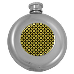 Circles3 Black Marble & Yellow Leather (r) Round Hip Flask (5 Oz)