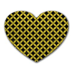 Circles3 Black Marble & Yellow Leather (r) Heart Mousepads