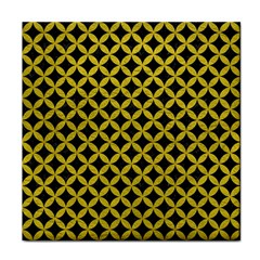 Circles3 Black Marble & Yellow Leather (r) Face Towel