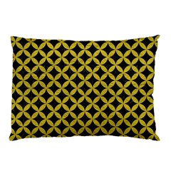 Circles3 Black Marble & Yellow Leather (r) Pillow Case