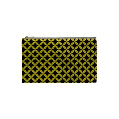 Circles3 Black Marble & Yellow Leather (r) Cosmetic Bag (small)