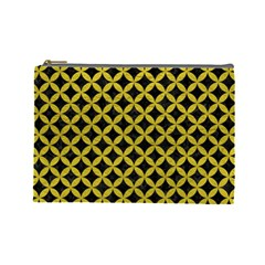 Circles3 Black Marble & Yellow Leather (r) Cosmetic Bag (large)