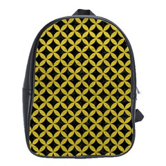 Circles3 Black Marble & Yellow Leather (r) School Bag (large)